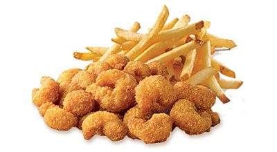 Chester's Popcorn Shrimp basket with fries